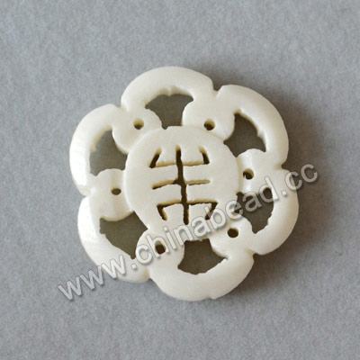Carved Bone Beads, White, Flower, Approx 24x4mm, Hole: Approx 2mm, Sold by PCS