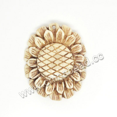 Carved Bone Pendants, Antique, Sunflower, Flower, Approx 40x32x7mm, Hole: Approx 2mm, Sold by PCS