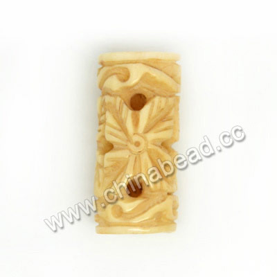 Carved Bone Beads, Ivory, Leaf, Tube, Approx 10x20mm, Hole:Approx 2mm, Sold by PCS
