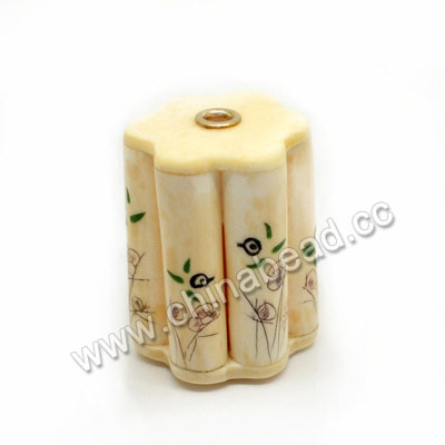 Carved Bone Beads, Ivory, Flowers & Birds Animal Scrimshaw, Cylinder, Approx 37x49mm, Hole: Approx 5mm, Sold by PCS