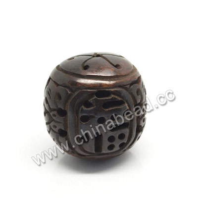 Carved Bone Pendants, Brown, Lucky Chinese Symbol, Round, Approx 28mm, Hole:Approx 2mm, Sold by PCS