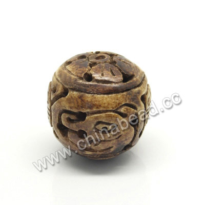 Carved Bone Pendants, Brown, Dragon Animal, Double Happiness Chinese Symbol & Flower, Round, Approx 26mm, Hole:Approx 2mm, Sold by PCS