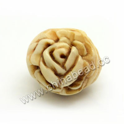 Carved Bone Beads, Antique, Rose Flower, Round, Approx 15mm, Hole:Approx 3mm, Sold by PCS