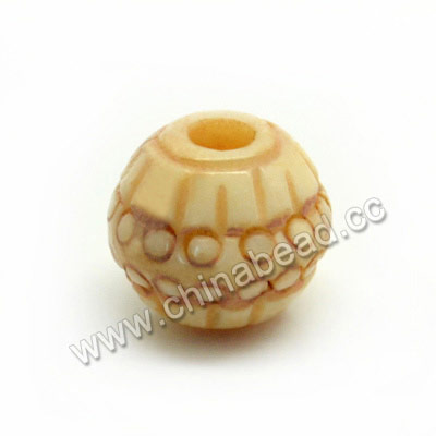 Carved Bone Beads, Tan, Round, Approx 10mm, Hole:Approx 3mm, Sold by PCS
