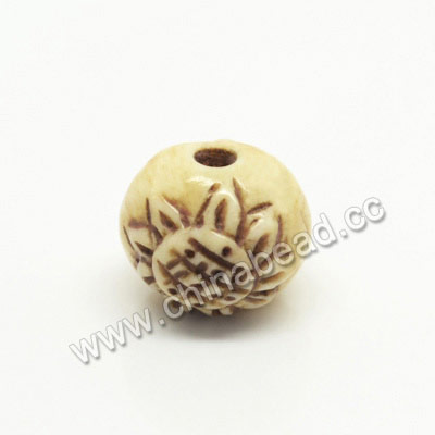 Carved Bone Beads, Antique, Sunflower, Round, Approx 13mm, Hole:Approx 2mm, Sold by PCS