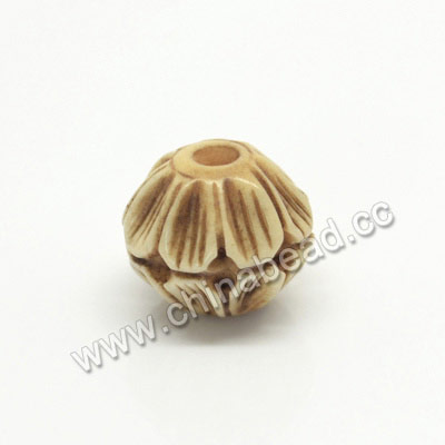 Carved Bone Beads, Antique, Flower, Round, Approx 12mm, Hole:Approx 2mm, Sold by PCS