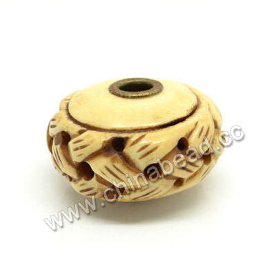Carved Bone Beads, Antique, Large Hole, Chinese Weave, Rondelle, Approx 28x18mm, Hole:Approx 5mm, Sold by PCS