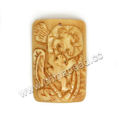 Carved Bone Pendants, Antique, Double Frogs Animal, Lotus, Square, Approx 55x36x6mm, Hole:Approx 2mm, Sold by PCS