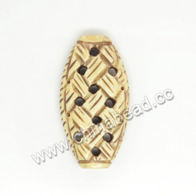 Carved Bone Beads, Antique, Chinese Weave, Oval, Approx 36x19x7mm, Hole: Approx 2mm, Sold by PCS