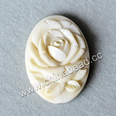 Carved Bone Pendants, White, Flower, Oval, Approx 25x18x6mm, Hole: Approx 2mm, Sold by PCS