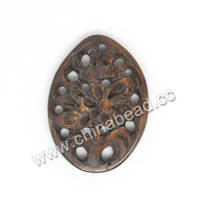 Carved Bone Pendants, Brown, Flower, Oval, Approx 30x21x4mm, Hole: Approx 2mm, Sold by PCS