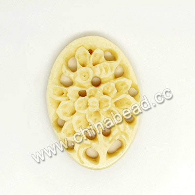 Carved Bone Pendants, Ivory, Flower, Oval, Approx 30x21x4mmm, Hole: Approx 2mm, Sold by PCS