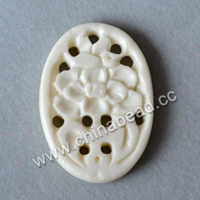 Carved Bone Pendants, White, Flower, Oval, Approx 33x23x3mm, Hole: Approx 2mm, Sold by PCS