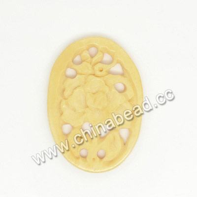 Carved Bone Pendants, Ivory, Flower, Oval, Approx 33x23x3mm, Hole: Approx 2mm, Sold by PCS