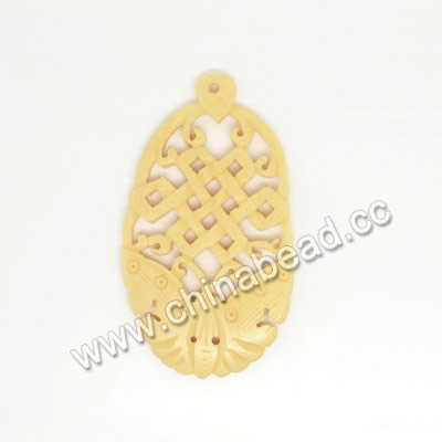 Carved Bone Pendants, Ivory, Chinese Knot & Butterfly Animal, Oval, Approx 55x31x4mm, Hole: Approx 2mm, Sold by PCS