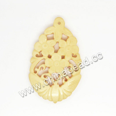 Carved Bone Pendants, Ivory, Flower & Butterfly Animal, Oval, Approx 48x29x5mm, Hole: Approx 2mm, Sold by PCS