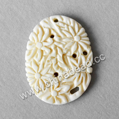 Carved Bone Pendants, White, Flower, Oval, Approx 36x27x4mm, Hole: Approx 2mm, Sold by PCS