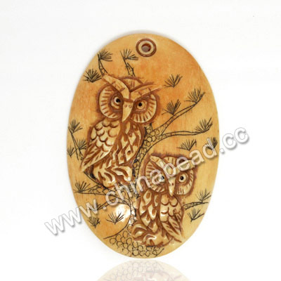 Carved Bone Pendants, Antique, Pine Tree & Owl Animal Scrimshaw, Oval, Approx 49x33x5mm, Hole: Approx 2mm, Sold by PCS