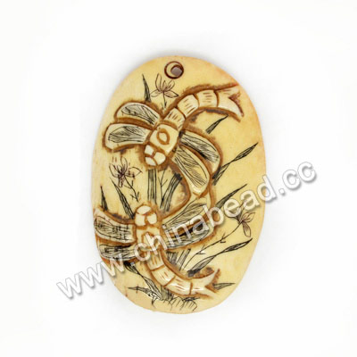 Carved Bone Pendants, Antique, Flower & Dragonfly Animal Scrimshaw, Oval, Approx 52x36x6mm, Hole: Approx 2mm, Sold by PCS