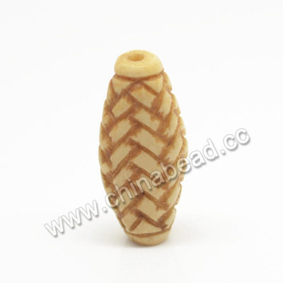 Carved Bone Beads, Antique, Weave, Oval, Approx 26x12x7mm, Hole: Approx 2mm, Sold by PCS