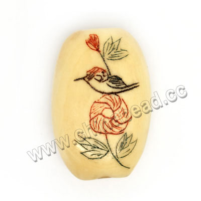 Carved Bone Beads, Ivory, Rose Flower & Bird Animal Scrimshaw, Oval, Approx 20x13x7mm, Hole: Approx 2mm, Sold by PCS