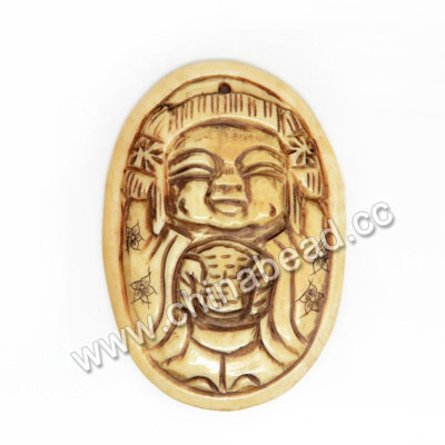 Carved Bone Pendants, Antique, Lucky Boy & Double Happiness Chinese Symbol Scrimshaw, Oval, Approx 53x37x5mm, Hole: Approx 2mm, Sold by PCS