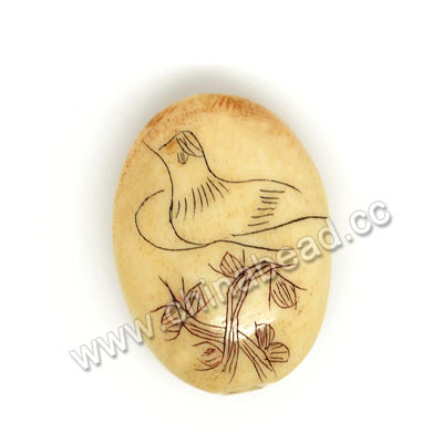 Carved Bone Beads, Ivory, Flower & Bird Animal Scrimshaw, Oval, Approx 19x14x8mm, Hole: Approx 2mm, Sold by PCS