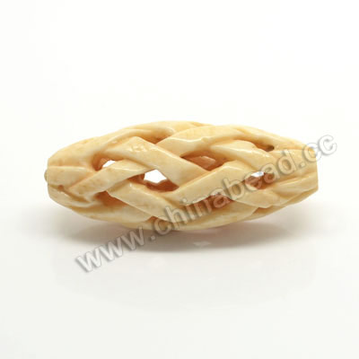 Carved Bone Beads, Tan, Chinese Weave, Oval, Approx 15x38mm, Hole: Approx 3mm, Sold by PCS