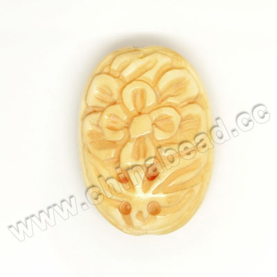 Carved Bone Beads, Tan, Flower, Oval, Approx 28x20x10mm, Hole: Approx 2mm, Sold by PCS