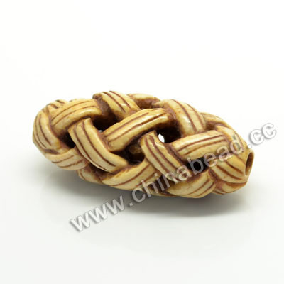 Carved Bone Beads, Antique, Chinese Weave, Oval, Approx 16x14x36mm, Hole: Approx 3mm, Sold by PCS