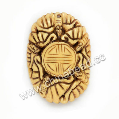 Carved Bone Pendants, Antique, Birds Animal & Double happiness Chinese Symbol, Oval, Approx 57x41x6mm, Hole: Approx 2mm, Sold by PCS