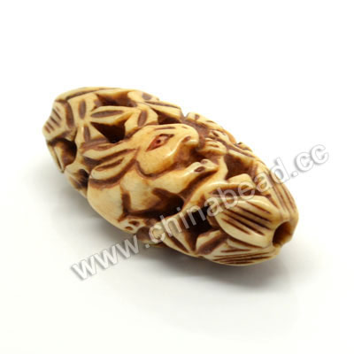 Carved Bone Beads, Antique, Flower & Rabbit Animal, Oval, Approx 17x13x36mm, Hole: Approx 3mm, Sold by PCS