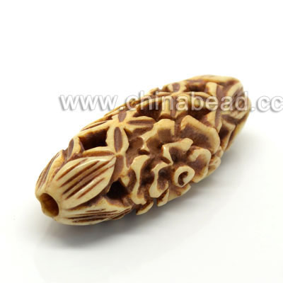 Carved Bone Beads, Antique, Flower, Oval, Approx 16x12x37mm, Hole: Approx 3mm, Sold by PCS