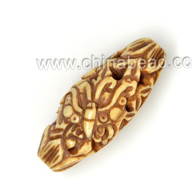 Carved Bone Beads, Antique, Flower & Butterfly Animal, Oval, Approx 16x13x36mm, Hole: Approx 3mm, Sold by PCS