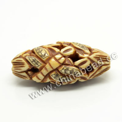 Carved Bone Beads, Antique, Flower & Dragonfly Animal Scrimshaw, Oval, Approx 16x14x35mm, Hole: Approx 3mm, Sold by PCS