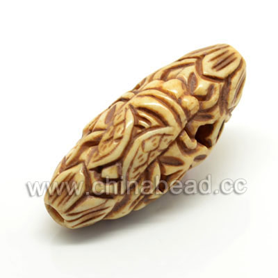 Carved Bone Beads, Antique, Cicada Animal, Oval, Approx 16x14x36mm, Hole: Approx 3mm, Sold by PCS