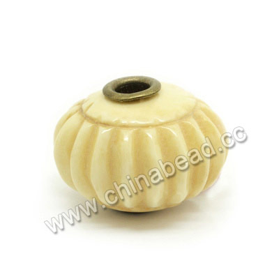 Carved Bone Beads, Ivory, Pumpkin, Large Hole, Rondelle, Approx 24x16mm, Hole:Approx 5mm, Sold by PCS