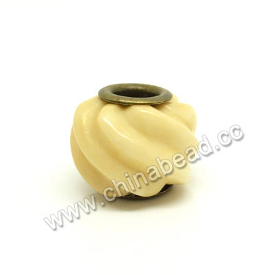 Carved Bone Beads, Ivory, Corrugated Twists, Large Hole, Rondelle, Approx 15x11mm, Hole:Approx 5mm, Sold by PCS