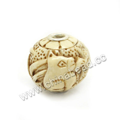 Carved Bone Beads, Antique, Butterfly & Cat Animal, Large Hole, Round, Approx 25mm, Hole:Approx 5mm, Sold by PCS