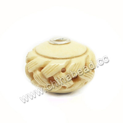 Carved Bone Beads, Ivory, Chinese Weave, Large hole, Rondelle, Approx 28x22mm, Hole:Approx 5mm, Sold by PCS