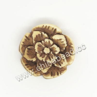Carved Bone Beads, Antique, Flower, Approx 20x7mm, Hole: Approx 2mm, Sold by PCS