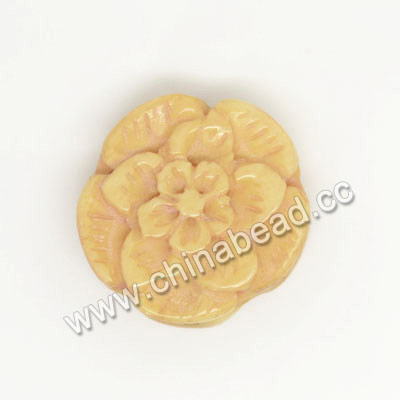 Carved Bone Beads, Ivory, Flower, Approx 20x7mm, Hole: Approx 2mm, Sold by PCS
