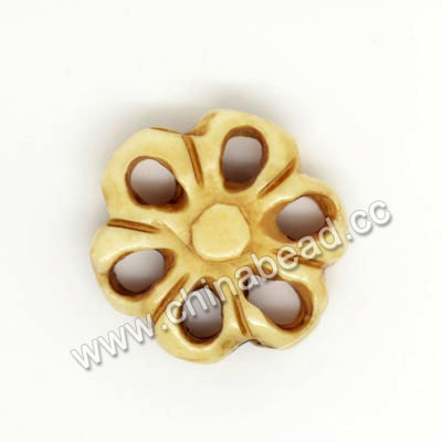 Carved Bone Beads, Antique, Flower, Approx 17x5mm, Hole: Approx 2mm, Sold by PCS