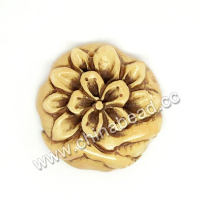 Carved Bone Pendants, Antique, Flower, Approx 29x7mm, Hole: Approx 2mm, Sold by PCS