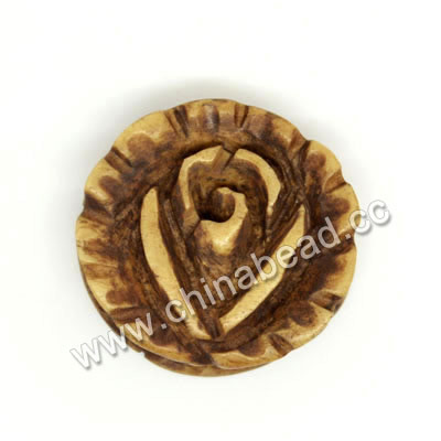 Carved Bone Pendants, Brown, Rose flower, Flower, Approx 23x7mm, Hole: Approx 2mm, Sold by PCS