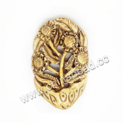 Carved Bone Pendants, Antique, Sunflower, Flower, Approx 54x35x5mm, Hole: Approx 2mm, Sold by PCS
