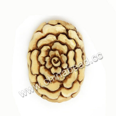 Carved Bone Pendants, Antique, Peony Flower, Approx 54x39x6mm, Hole: Approx 2mm, Sold by PCS