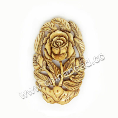 Carved Bone Pendants, Antique, Rose flower, Flower, Approx 55x34x4mm, Hole: Approx 2mm, Sold by PCS