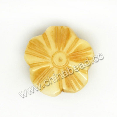 Carved Bone Beads, Antique, Small Flower, Approx 13x5mm, Hole: Approx 2mm, Sold by PCS