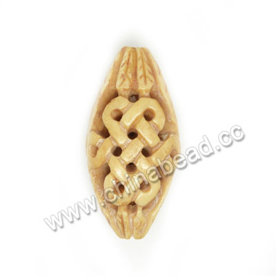 Carved Bone Beads, Antique, Leaf & Chinese Knot, Other, Approx 37x18x12mm, Hole: Approx 3mm, Sold by PCS
